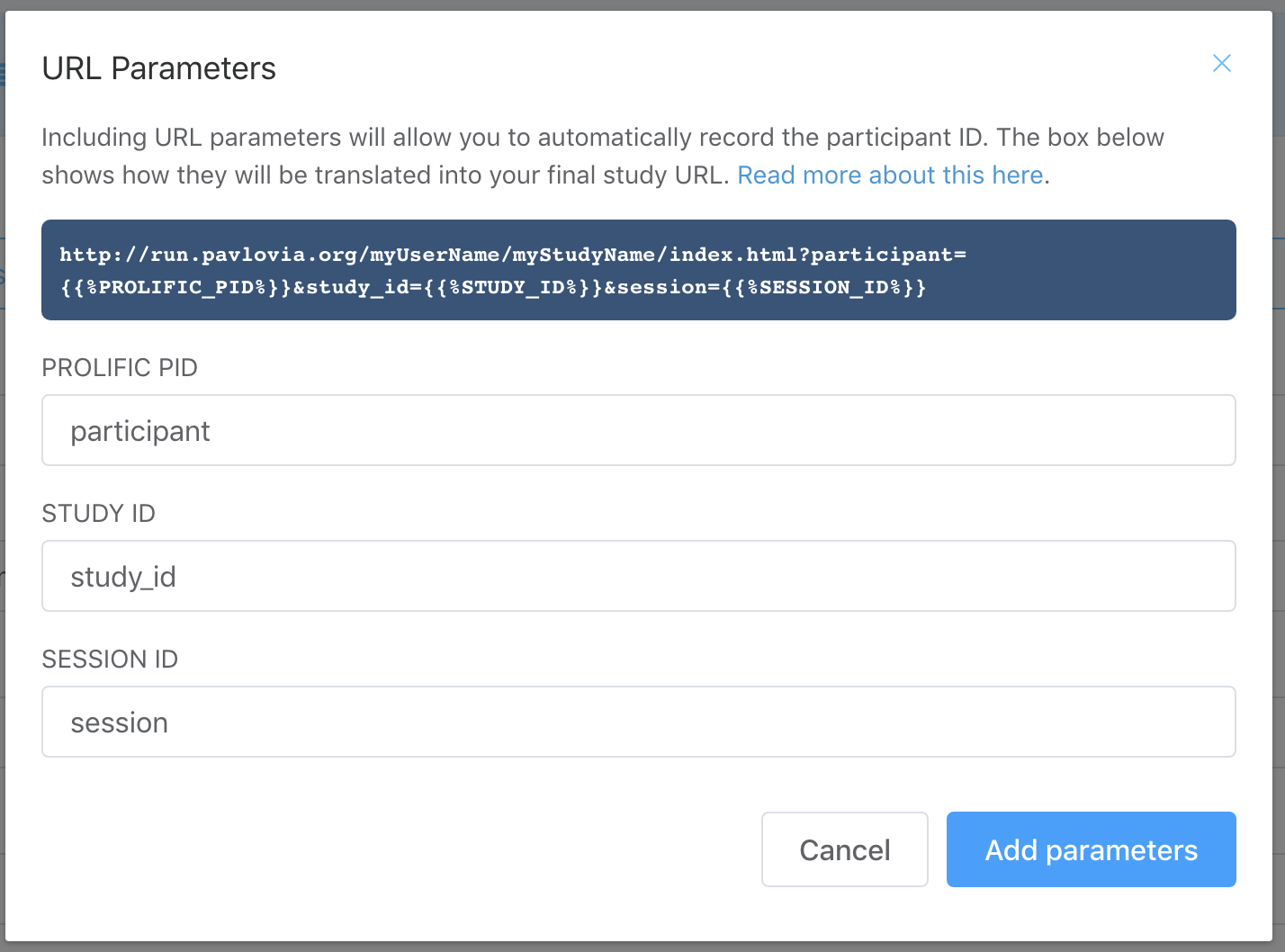 Prolific Academic settings (inserting parameters dialog box)